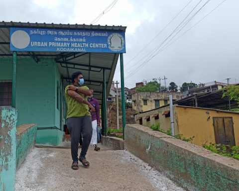 After the prick, the relief―a Kodai resident outside the town's Urban Primary Health Centre this May (Photo credit: Azad Reese)